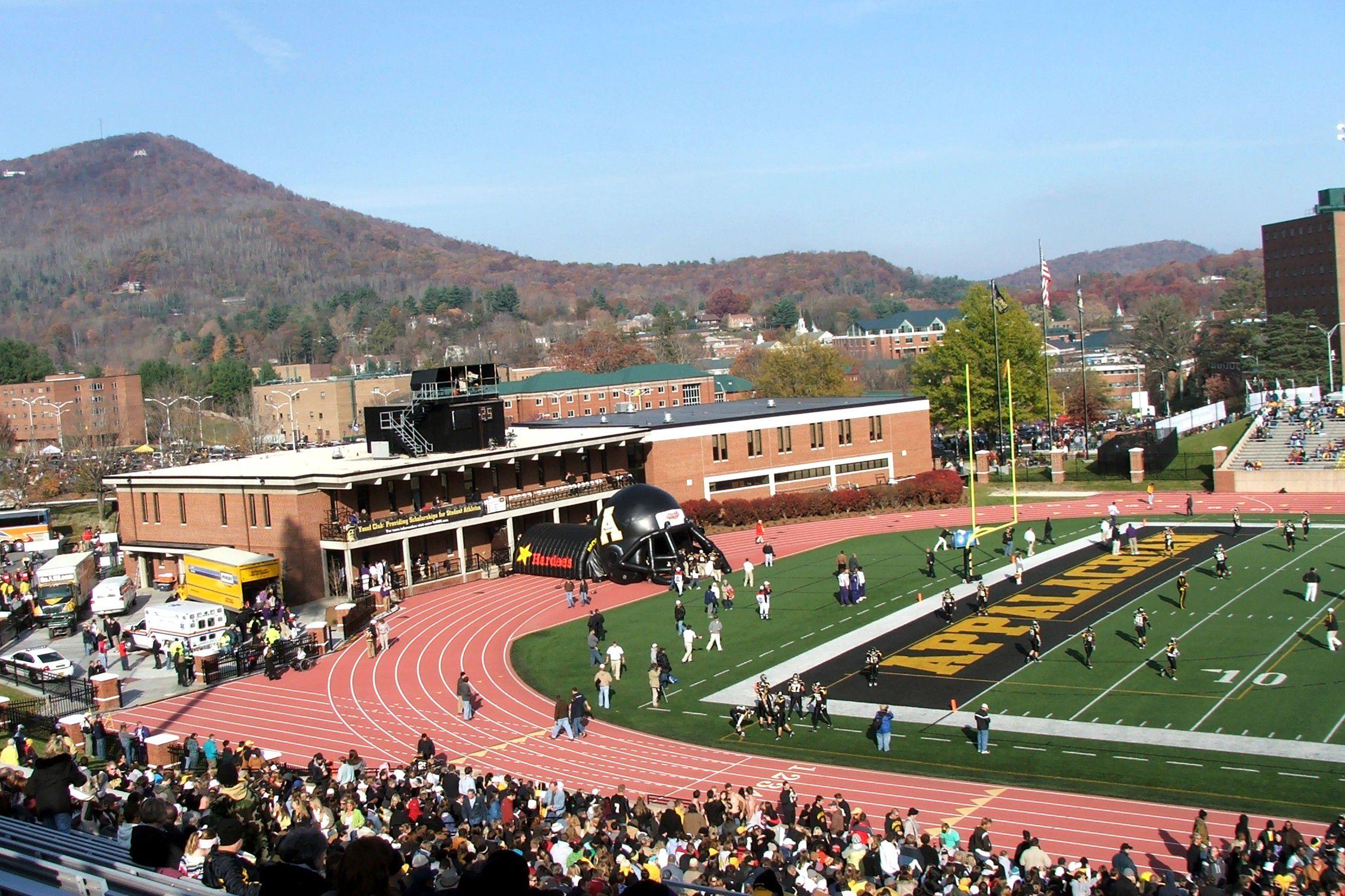 Inside Appalachian State's Kidd Brewer Stadium set against a mountainous backdrop