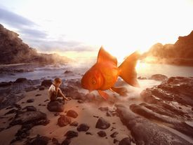 dreamy scene with a child and oversized fish