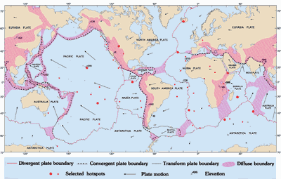 Map of the mid ocean ridges a map of tectonic plates and their boundaries gumiabroncs Images