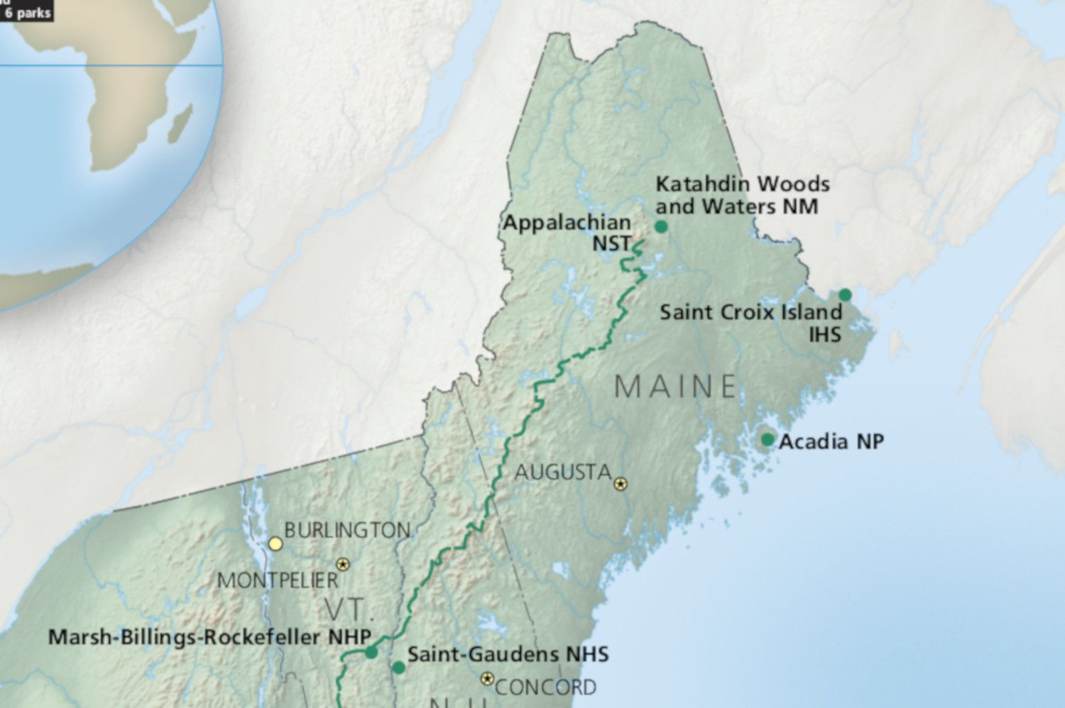 Maine National Parks Map