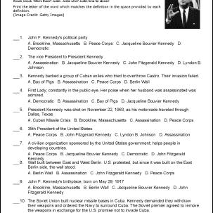 John F. Kennedy Challenge Worksheet
