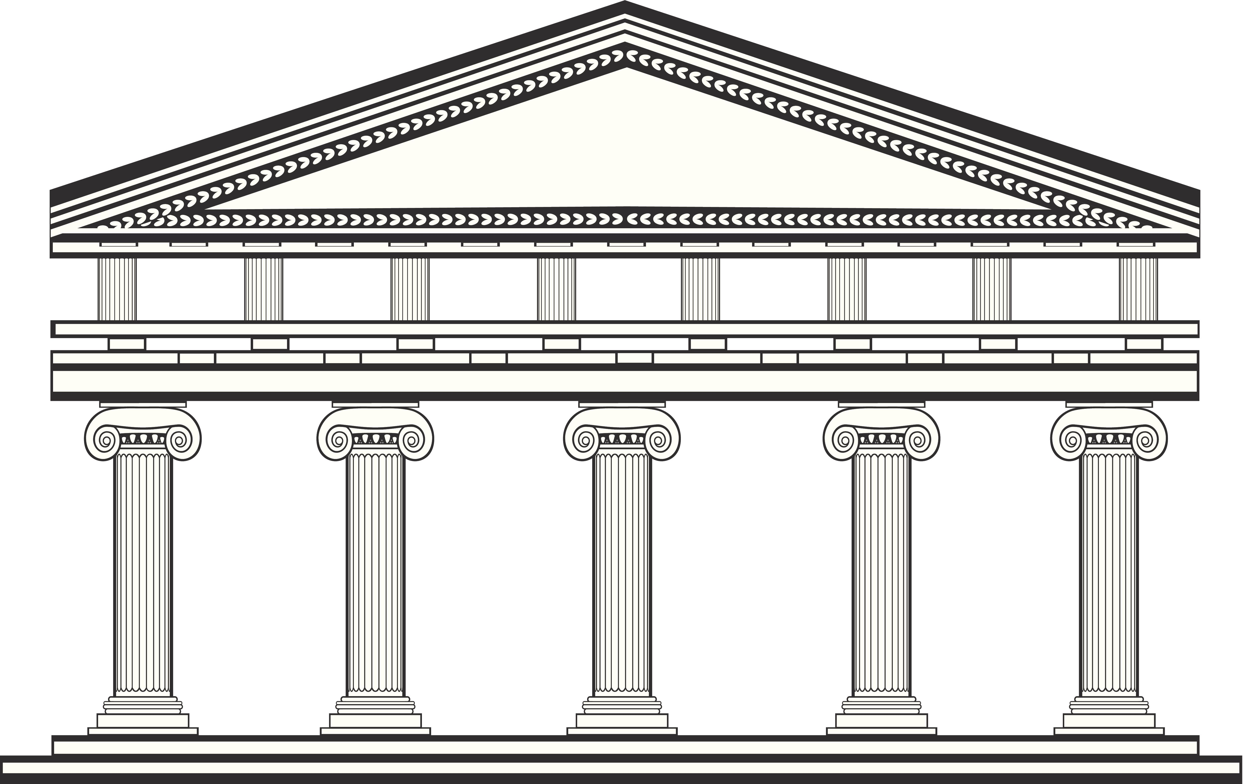 3e386a642b57 Ancient Greek temple done with Ionic columns, in a black and white  technique. Ivana Boskov / Getty Images