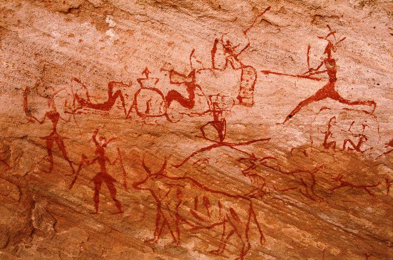 Libya, Sahara, Tadrart Acacus, cave art on sandstone wall