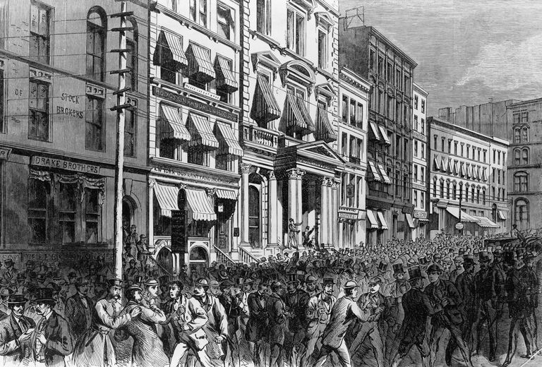 New York City street scene during Panic of 1873