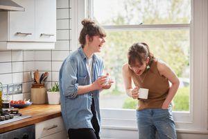 two women enjoying talking