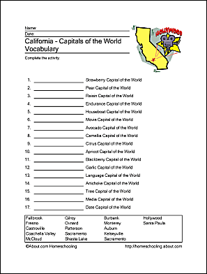 California printables california missions wordsearch california capitals of the world vocabulary altavistaventures Image collections