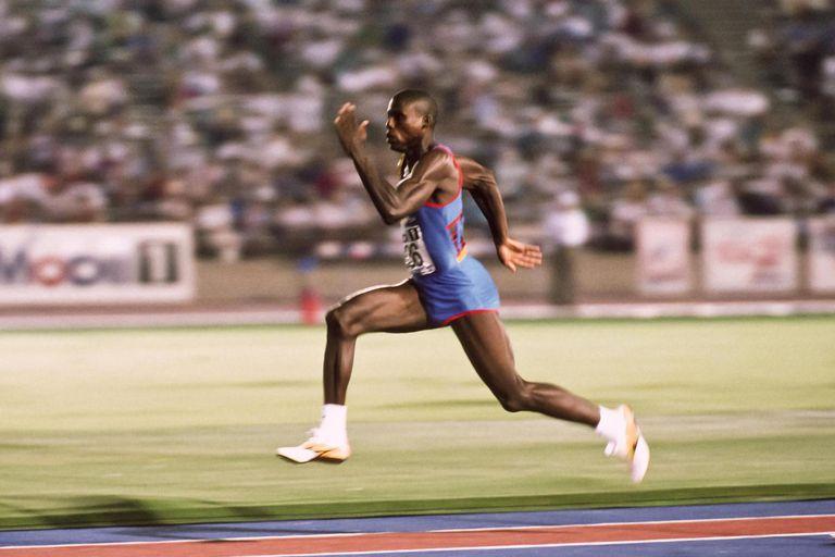 Carl Lewis running the long jump
