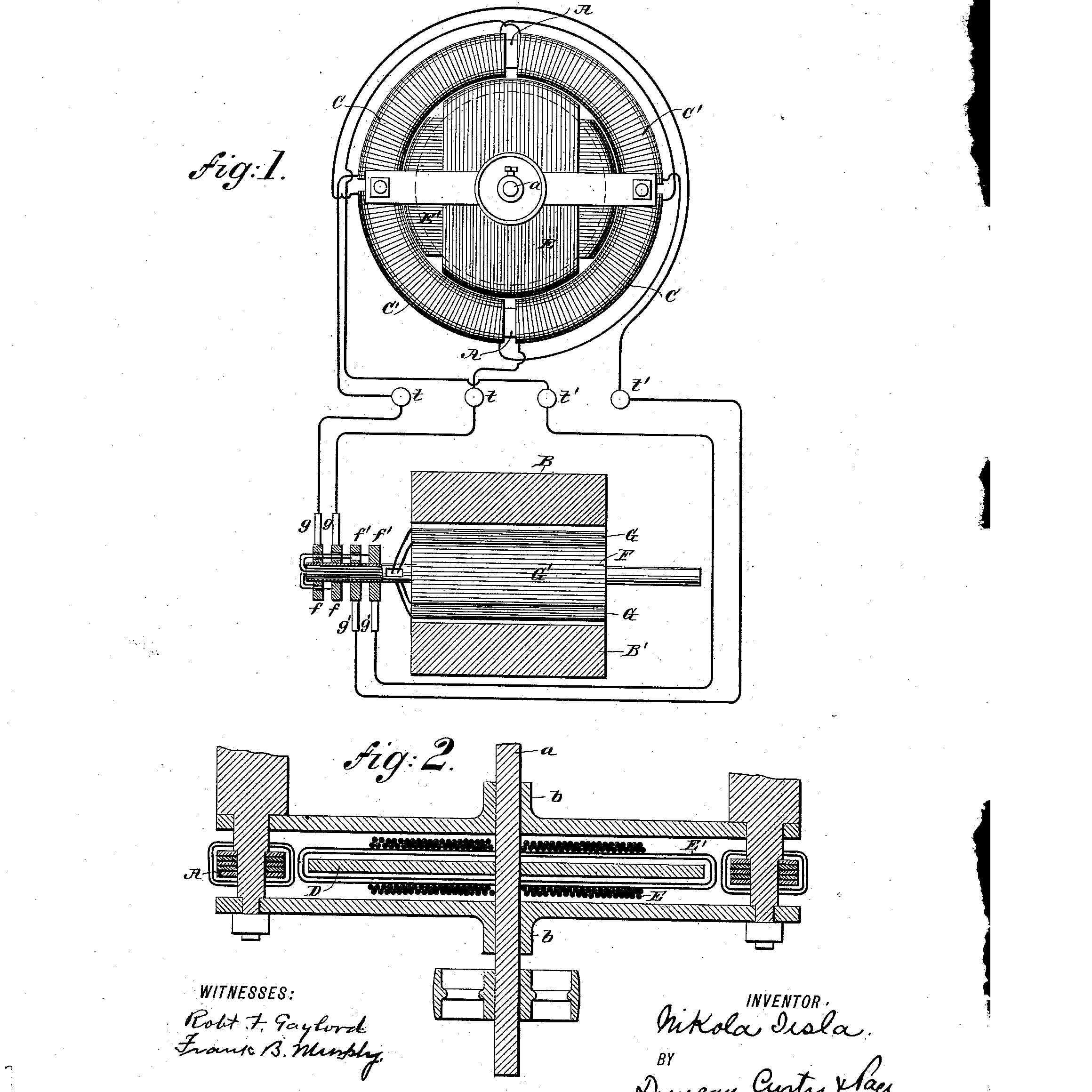 Nikola Tesla's patent for electromagnetic motor, 1888