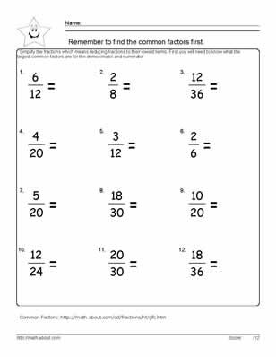 worksheets on simplifying fractions for th graders