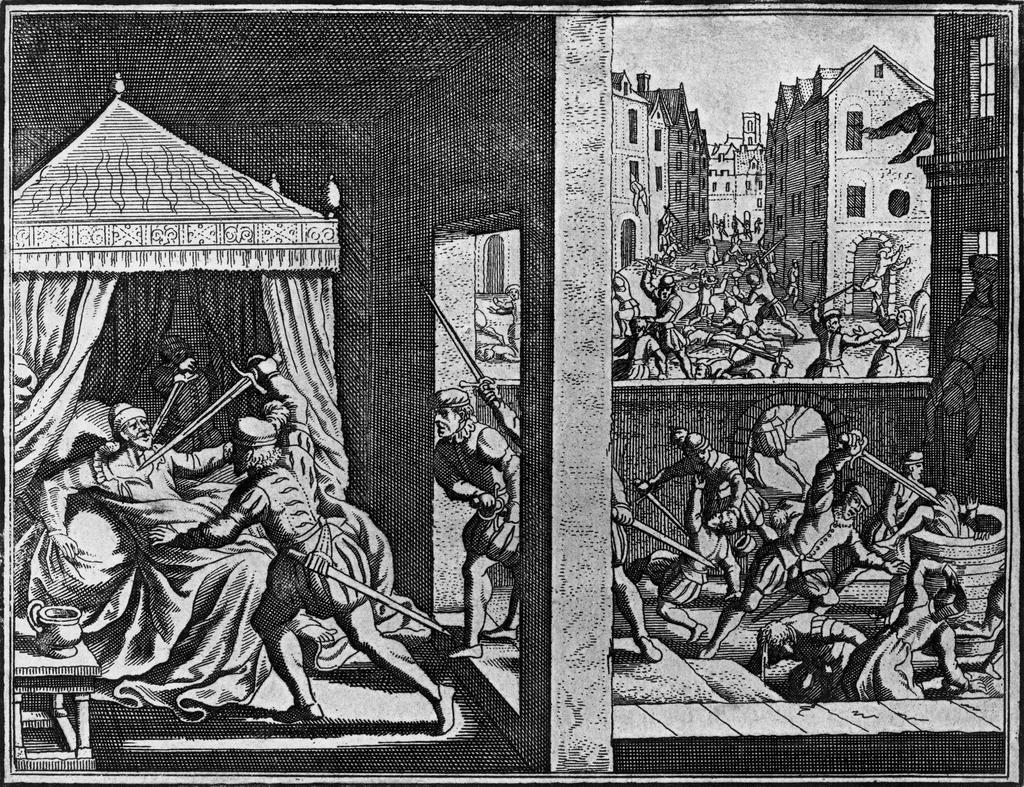 Massacre of the Huguenots on St Bartholomews Day, August 23-24, 1572, engraving, France, 16th century
