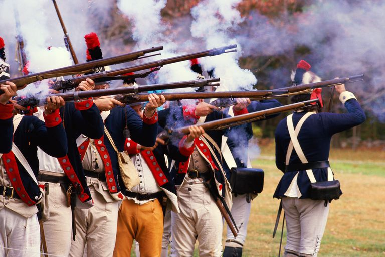 Reenactment of Revolutionary war soldiers