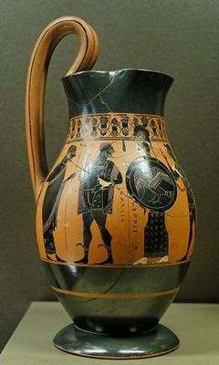 Heracles entering Olympus, olpe by the Amasis Painter, 550–530 B.C.