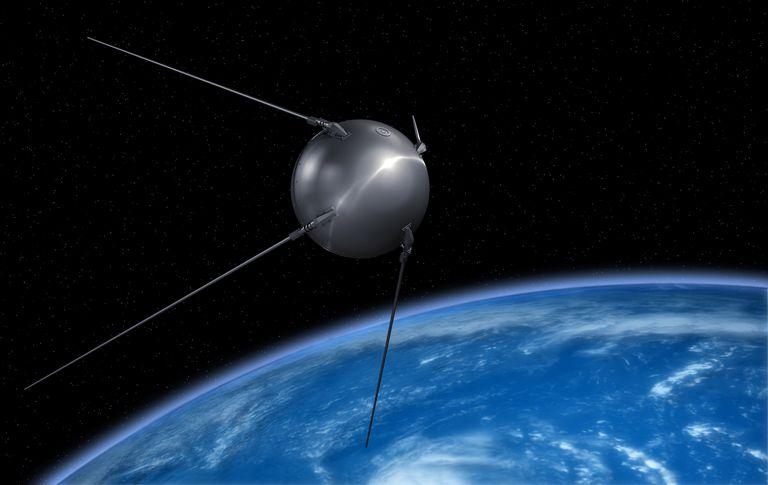 Sputnik satellite on earth orbit.