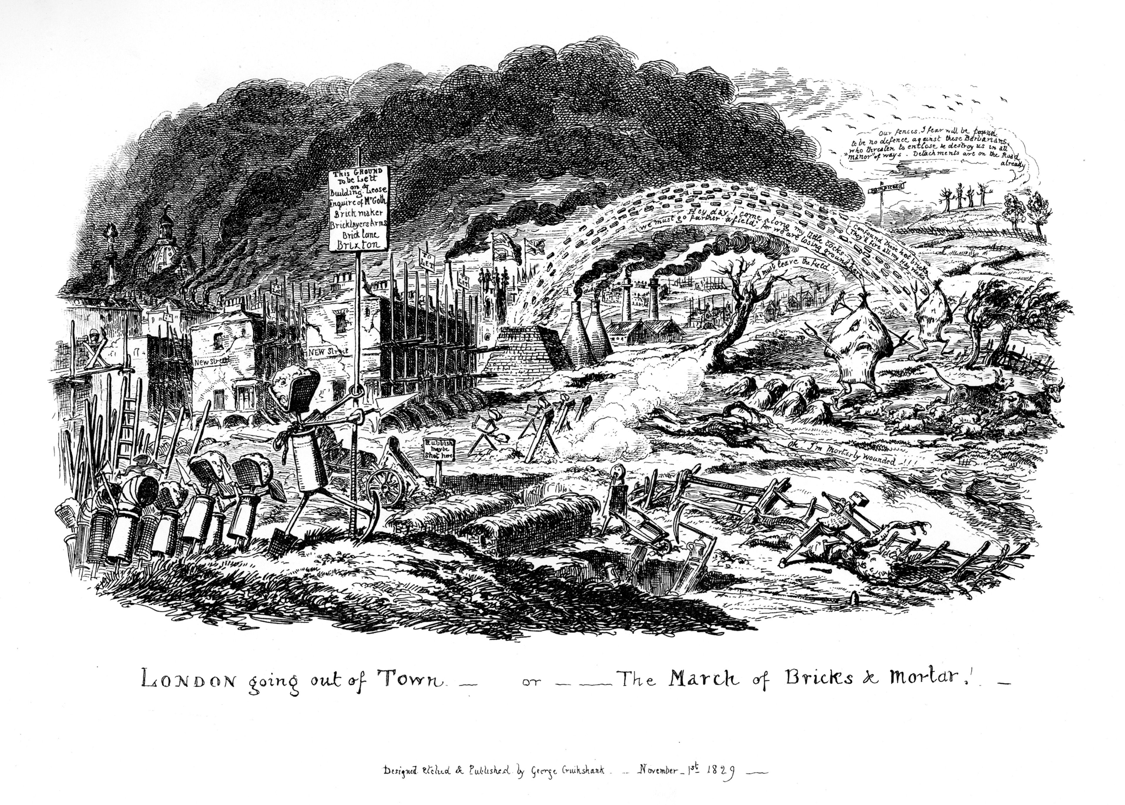 'London going out of Town - or The March of Bricks and Mortar', 1829. Artist: George Cruikshank