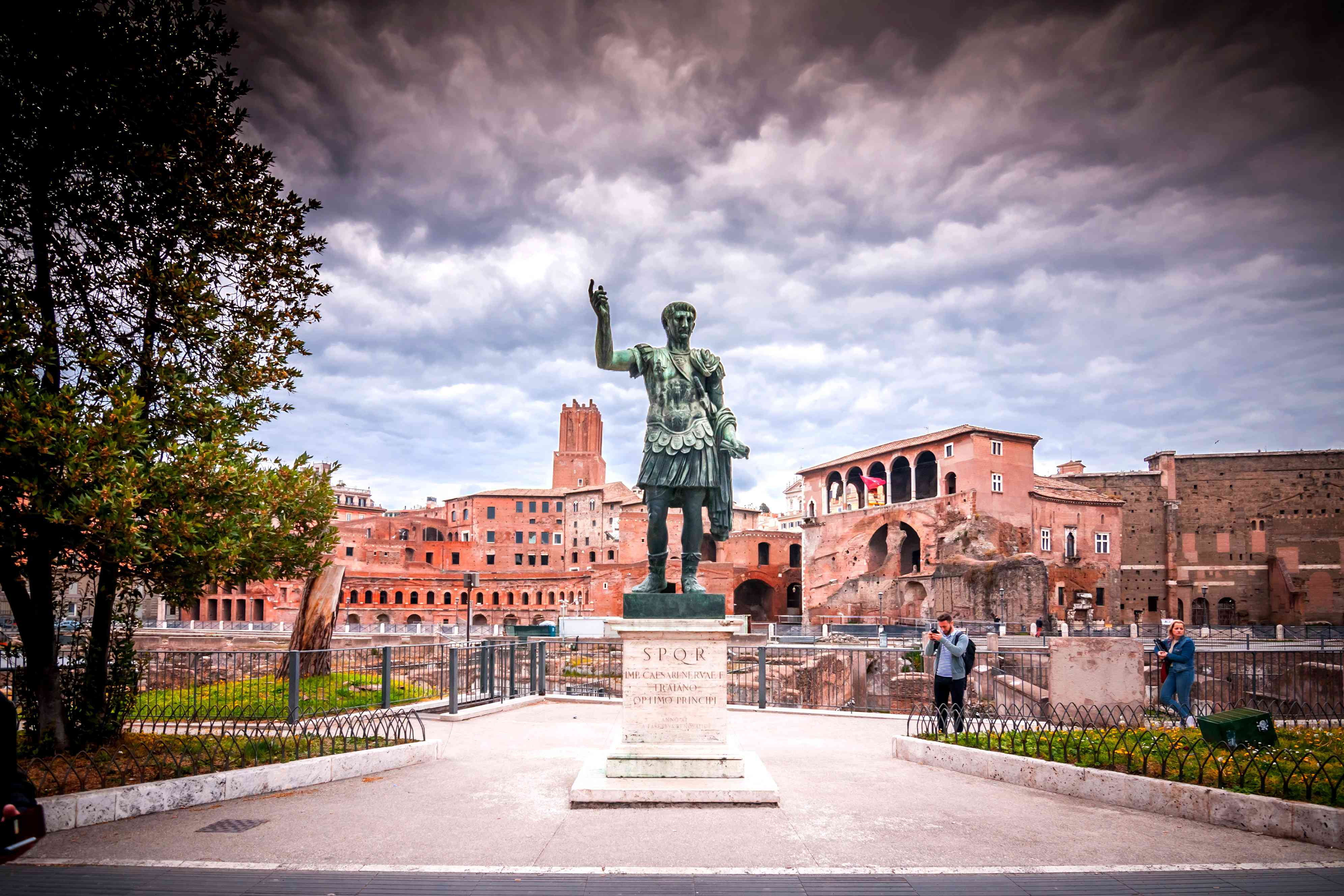 A statue of Julius Caesar in the historical open-air museum, the Roman Forum