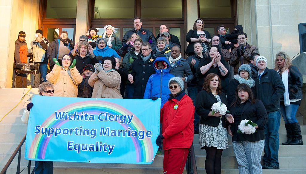 USA - Same-sex Wedding Ceremonies draw protests in Witchita