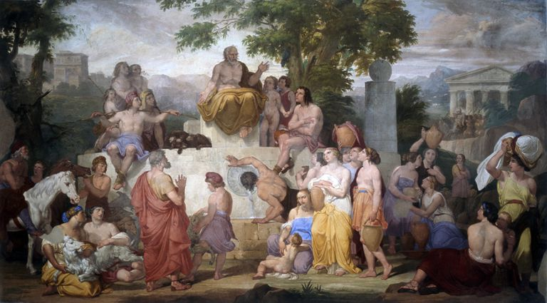 Aesop telling fables, by Pietro Paoletti, 1837, 19th century, fresco