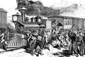 Depiction of the beginning of the 1877 Great Railroad Strike