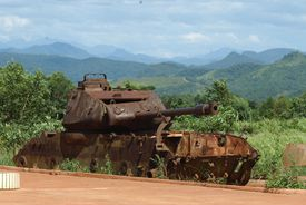 An old rusted tank leftover from the Vietnam war