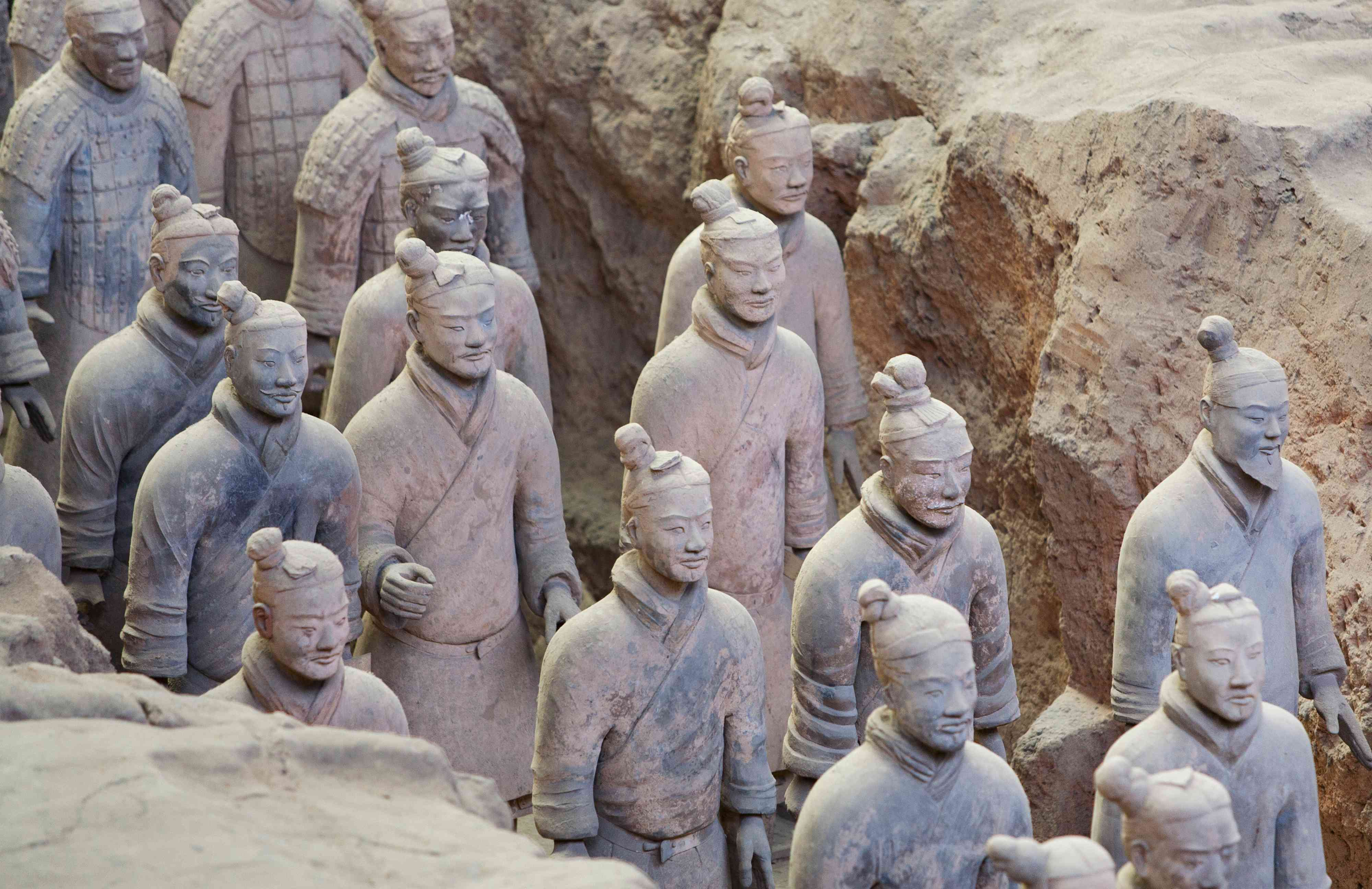Terracotta Warriors of Qin Huangshi, Painted with Chinese Purple