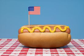 A hot dog with mustard and American flag
