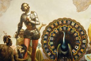 Hernan Cortes and peacock with coats of arms of Spanish tributary nations, detail from Allegory of Dominions of Charles V by Peter Johann Nepomuk Geiger (1805-1880), Throne Room, Miramare Castle, Trieste, Friuli-Venezia Giulia