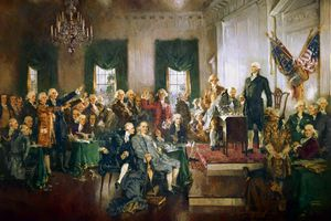 Painting of the Scene at the Signing of the Constitution of the United States
