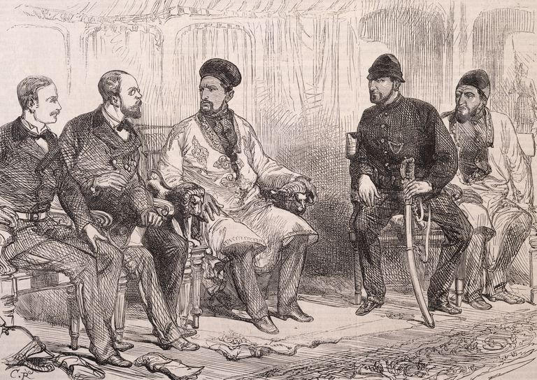 Yaghub Khan and Major Cavagnari, center, during the negotiations for the Treaty of Gandamak, May 25, 1879