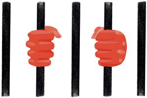 Illustration of hands holding jail cell