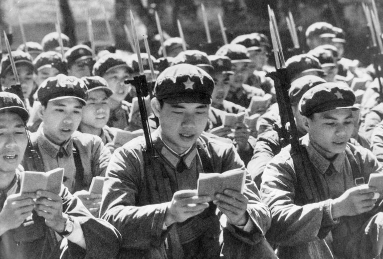 Red Guards in a mass reading of Mao's Little Red Book, 1968