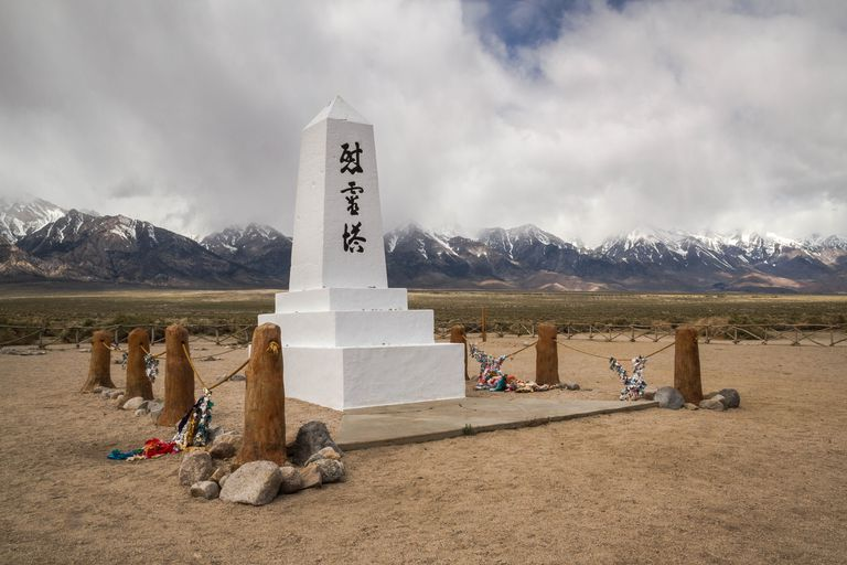 A monument inside the Manzanar National Historic Site at the foot of the Sierra Nevada in southern California