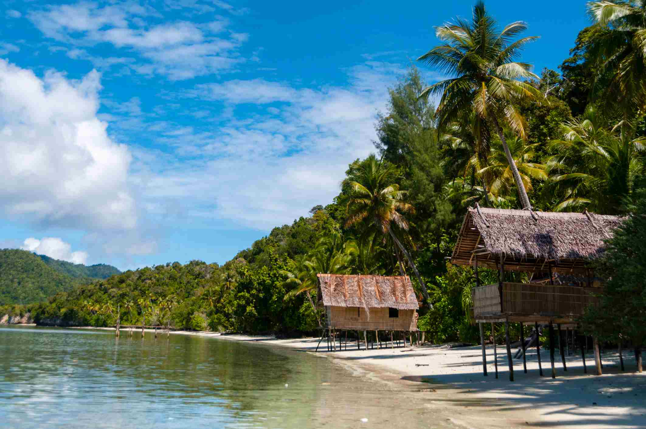 Nipa bamboo Huts at the White Sand beach with palm
