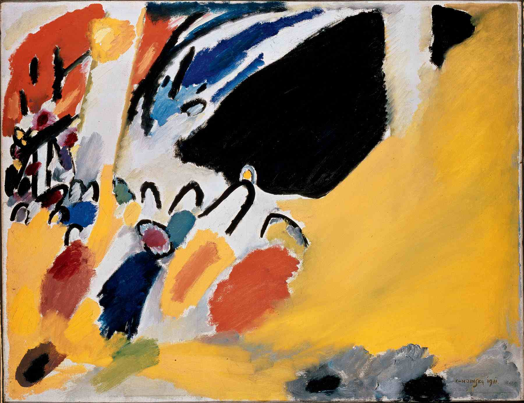 Wassily Kandinsky (Russian, 1866-1944) Wassily Kandinsky (Russian, 1866-1944). Impression III (Concert) (Impression III [Konzert]), January 1911. Oil and tempera on canvas. 30 1/2 x 39 5/16 in. (77.5 x 100 cm). Gabriele Münter-Stiftung, 1957. Städtische Galerie im Lenbachhaus, Munich.