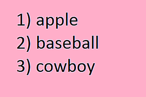 words listed alphabetically