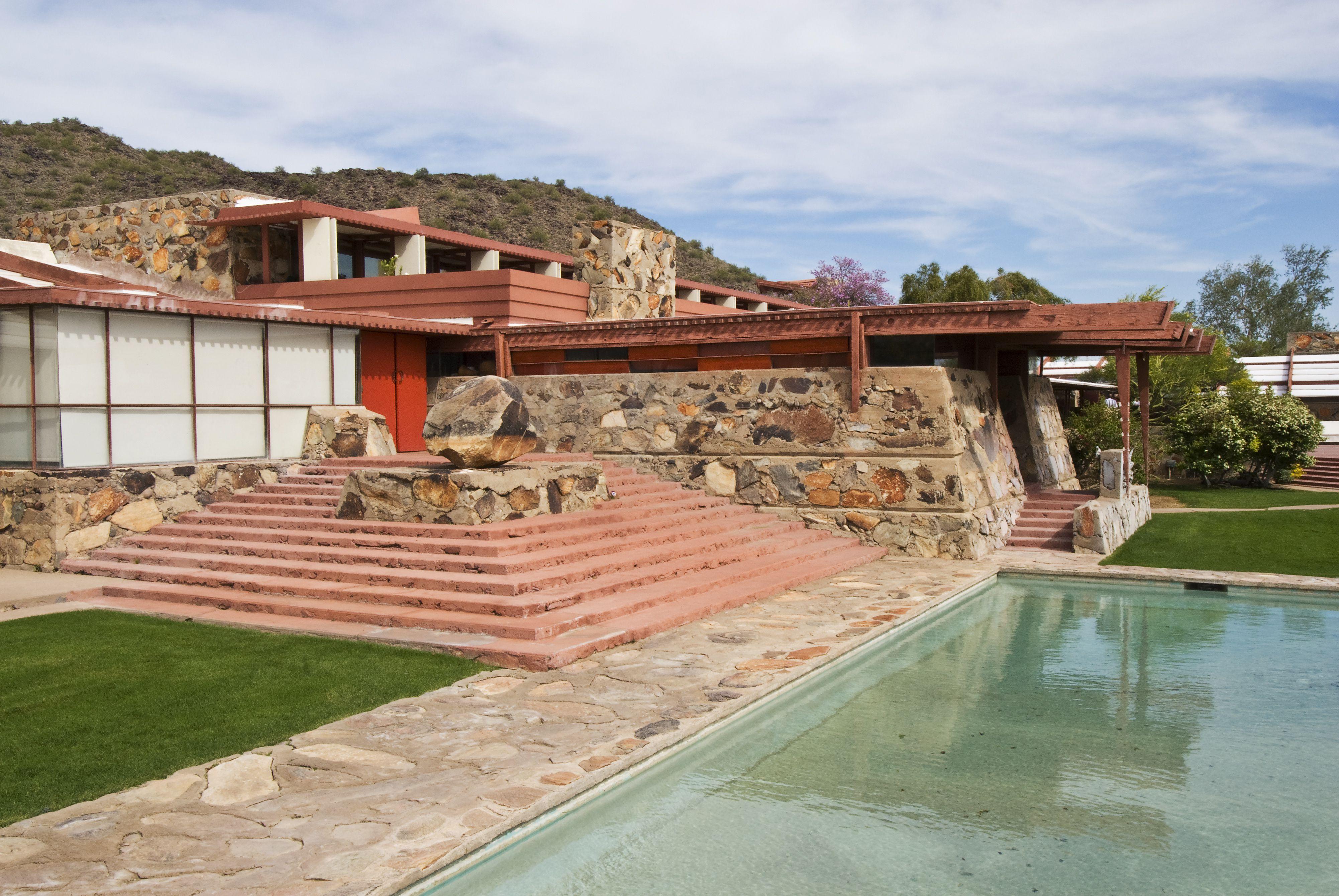 Außenansicht von Taliesin West, dem Winterhaus und Atelier des Architekten Frank Lloyd Wright.