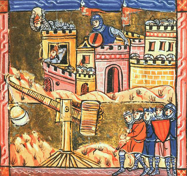 Knight with a trebuchet outside the walls of Acre.
