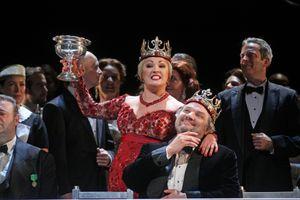 Anna Netrebko as Lady Macbeth and Zeljko Lucic as Macbeth star in Verdi's Shakespearian opera, Macbeth, performed at the Metropolitan Opera House in New York City on Saturday, September 20, 2014.