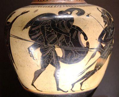 Aeneas carrying Anchises. Attic black-figure oinochoe, c. 520-510 BC.