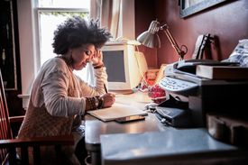 Portrait of woman with cool hair in home office