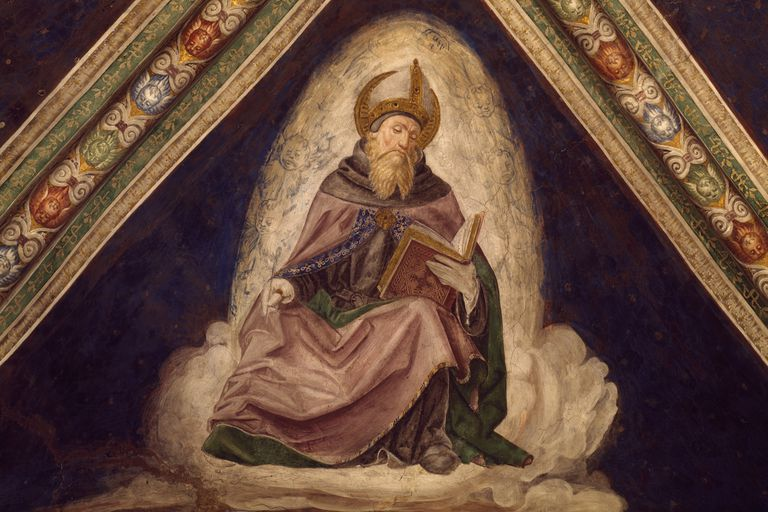 St Augustine, detail from the Doctors of the Church Cycle, 1487-1492, fresco, Church of the Santissima Annunziata, Franciscan Monastery, Cortemaggiore, Emilia-Romagna. Italy, 15th century.