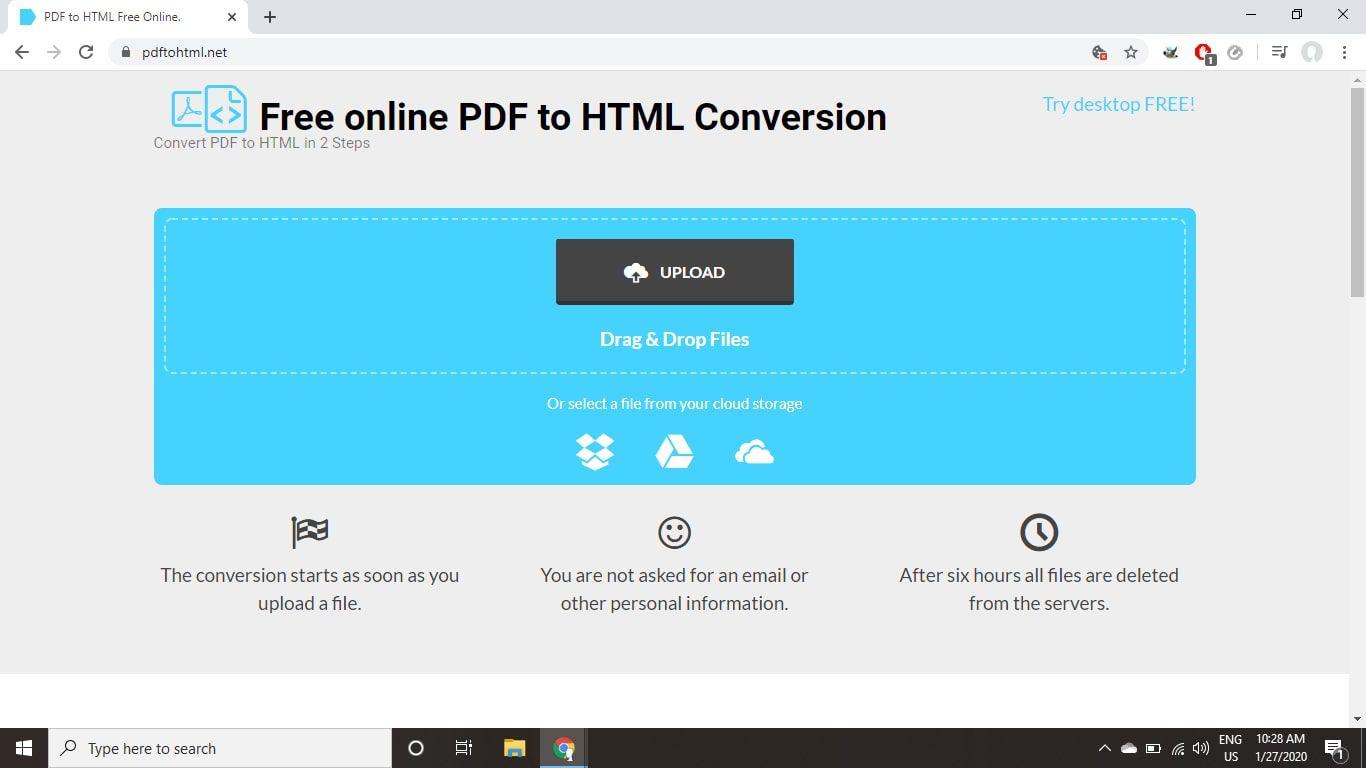PDFtoHTML.net online PDF conversion tool
