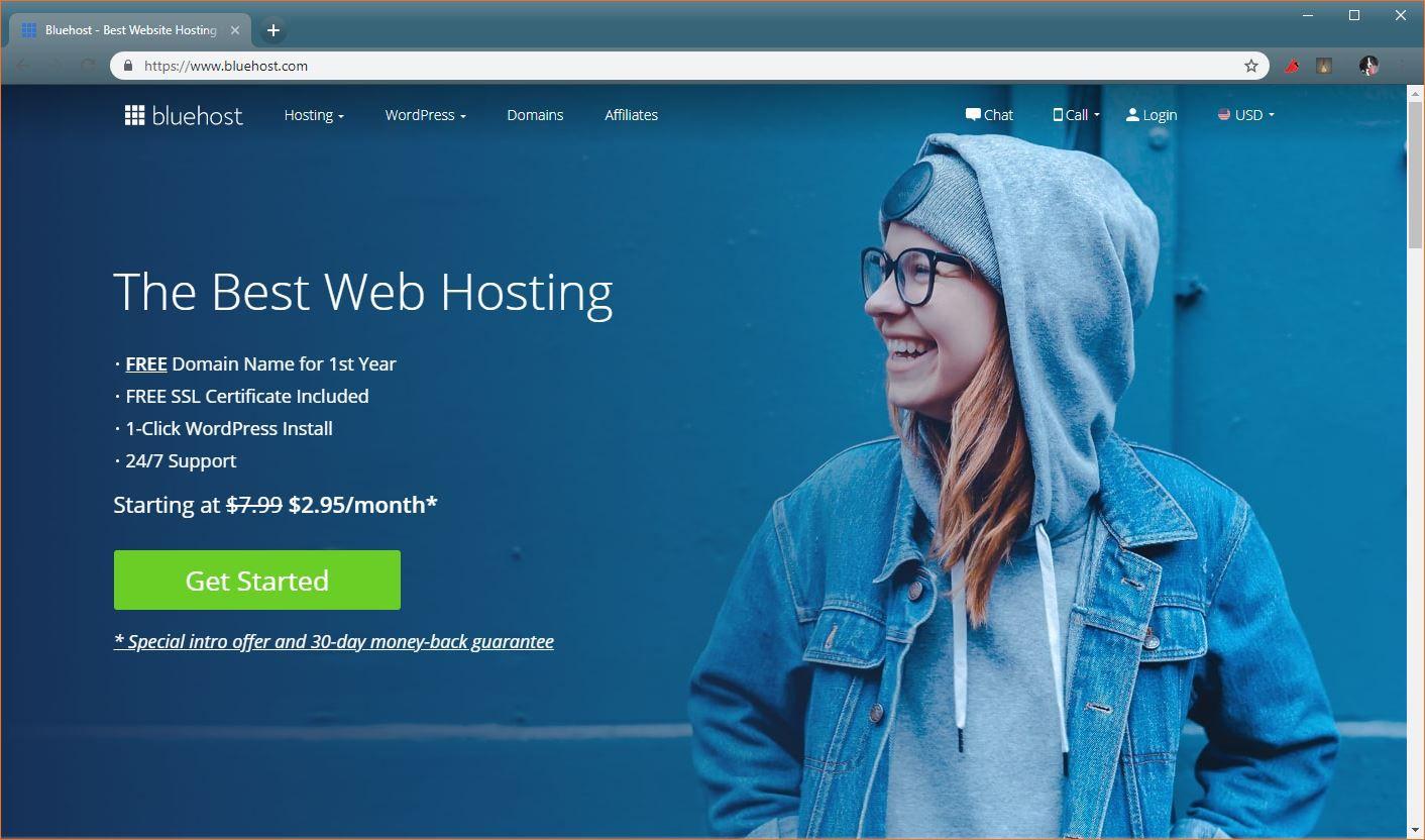 A screenshot of Bluehost.
