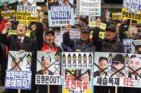 South Koreans protest the North Korean regime