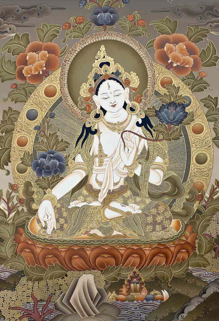White Tara; detail from a Tibetan Tangka painting.