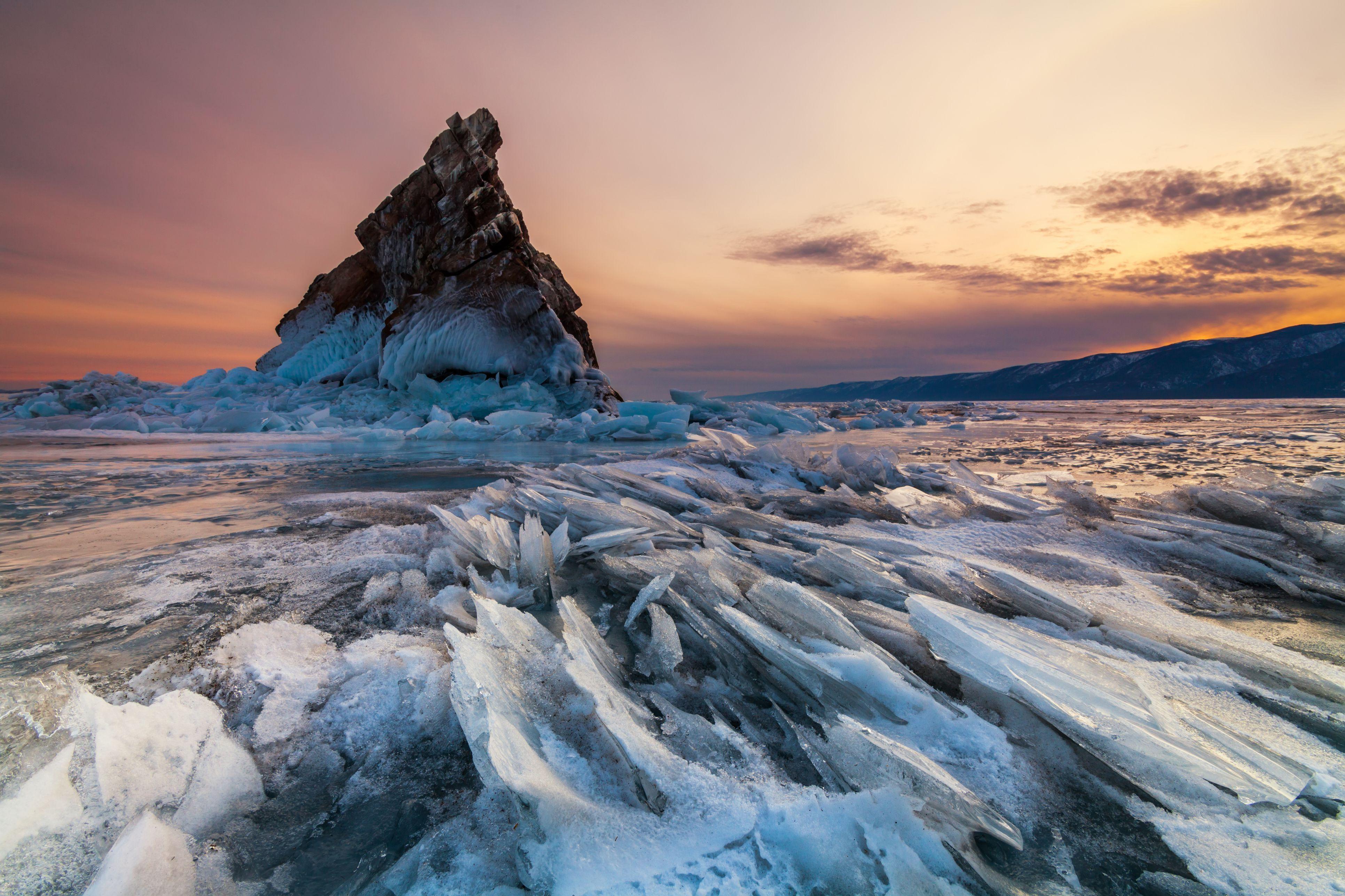 Elenka Island at sunset, Lake Baikal