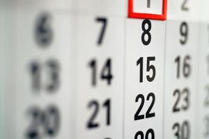 Calendar (focus on Thursday's dates)