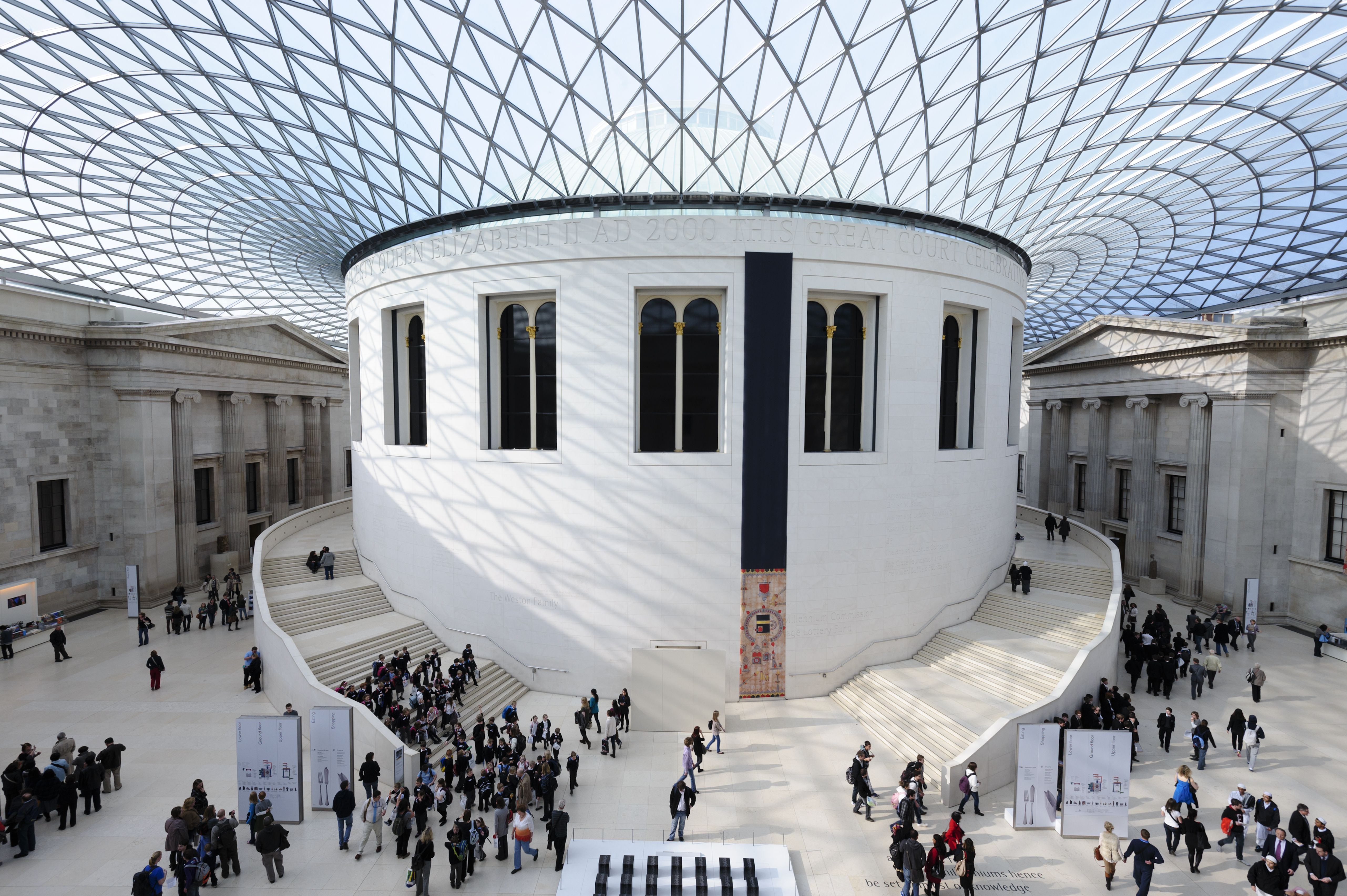 large interior space with light-filled triangular glass roof