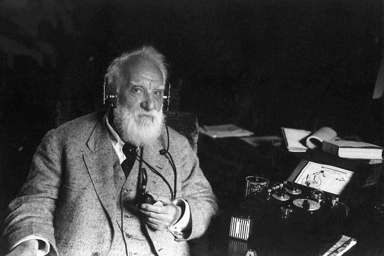 Black and white photo of Alexander Graham Bell.