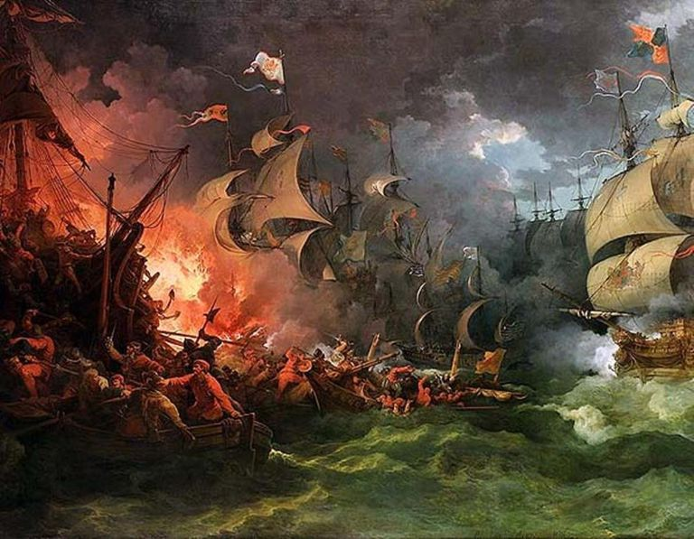The Spanish Armada at the Battle of Gravelines