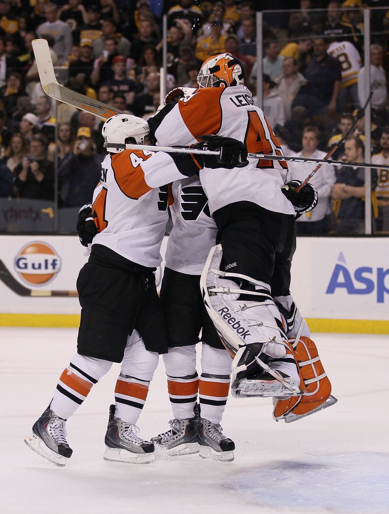 The Flyers celebrate their historic Stanley Cup comeback against Boston in 2010.